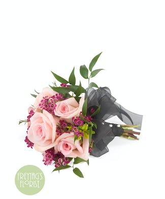 Pink Rose Hand Tied Prom Bouquet