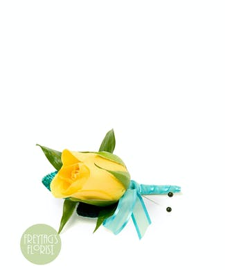 Yellow Rose and Ribbon Boutonniere