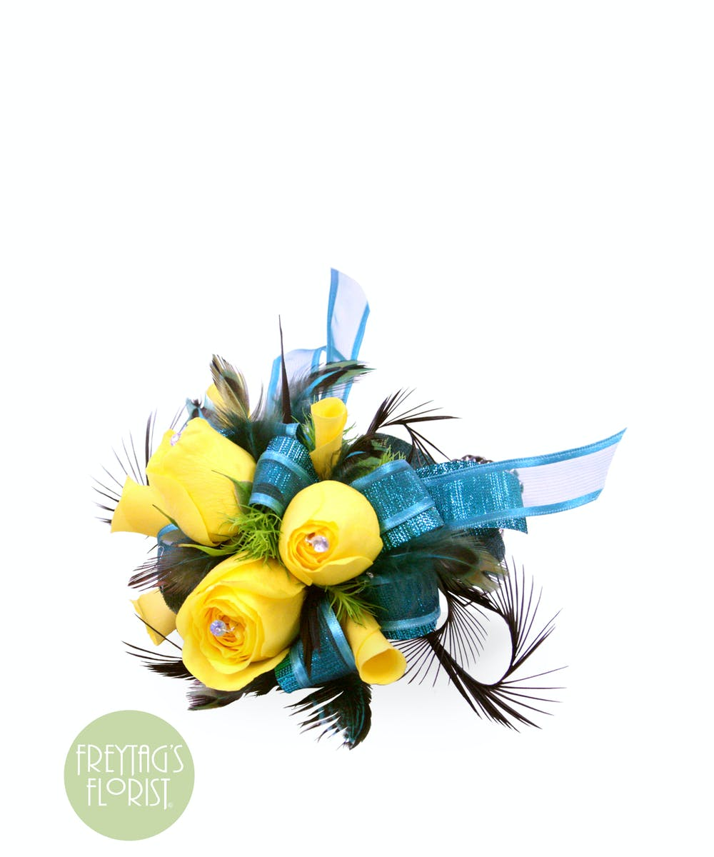 Yellow Rose Black Feather Corsage Austin Freytags Florist
